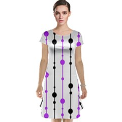 Purple, white and black pattern Cap Sleeve Nightdress
