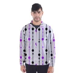 Purple, white and black pattern Wind Breaker (Men)