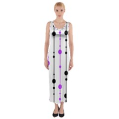 Purple, white and black pattern Fitted Maxi Dress
