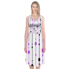 Purple, white and black pattern Midi Sleeveless Dress