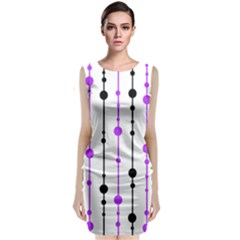 Purple, white and black pattern Classic Sleeveless Midi Dress