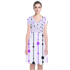 Purple, white and black pattern Short Sleeve Front Wrap Dress