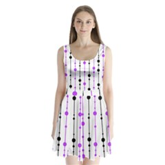Purple, white and black pattern Split Back Mini Dress
