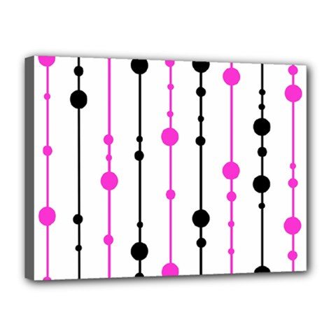 Magenta, black and white pattern Canvas 16  x 12
