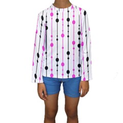 Magenta, black and white pattern Kid s Long Sleeve Swimwear