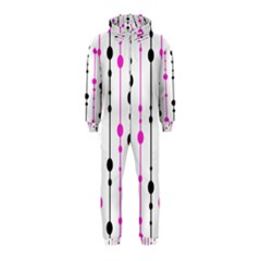 Magenta, black and white pattern Hooded Jumpsuit (Kids)