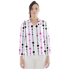 Magenta, black and white pattern Wind Breaker (Women)