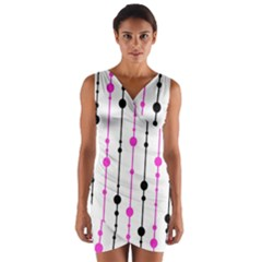 Magenta, black and white pattern Wrap Front Bodycon Dress