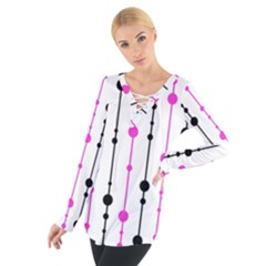 Magenta, black and white pattern Women s Tie Up Tee
