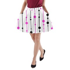 Magenta, black and white pattern A-Line Pocket Skirt