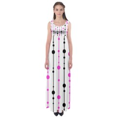 Magenta, black and white pattern Empire Waist Maxi Dress