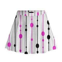 Magenta, black and white pattern Mini Flare Skirt