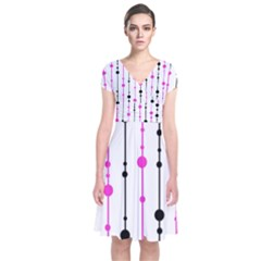 Magenta, Black And White Pattern Short Sleeve Front Wrap Dress