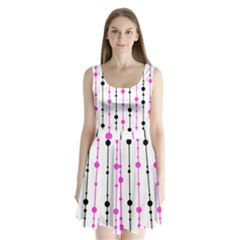 Magenta, black and white pattern Split Back Mini Dress