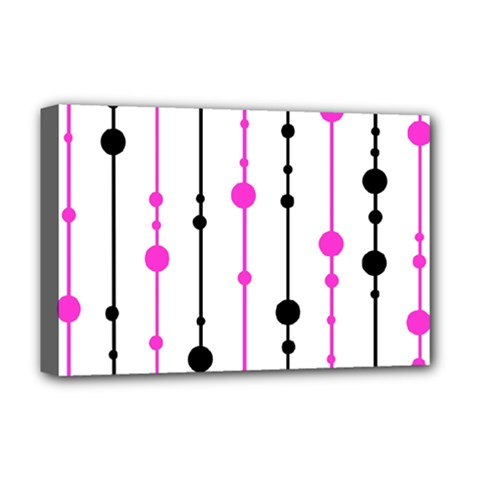 Magenta, black and white pattern Deluxe Canvas 18  x 12