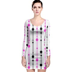 Magenta, black and white pattern Long Sleeve Bodycon Dress