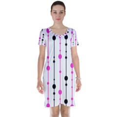 Magenta, black and white pattern Short Sleeve Nightdress