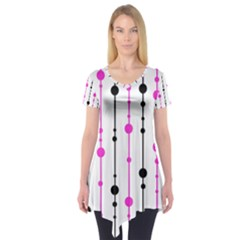 Magenta, Black And White Pattern Short Sleeve Tunic