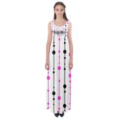 Magenta, black and white pattern Empire Waist Maxi Dress