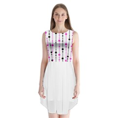 Magenta, black and white pattern Sleeveless Chiffon Dress