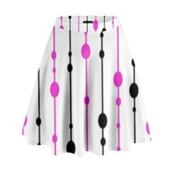 Magenta, black and white pattern High Waist Skirt
