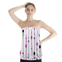 Magenta, black and white pattern Strapless Top