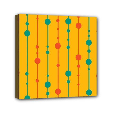 Yellow, green and red pattern Mini Canvas 6  x 6