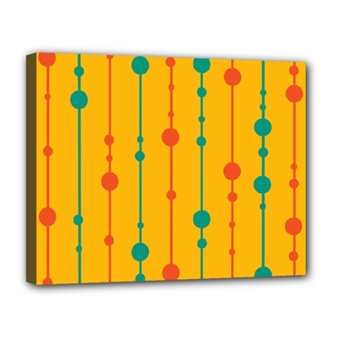 Yellow, green and red pattern Canvas 14  x 11
