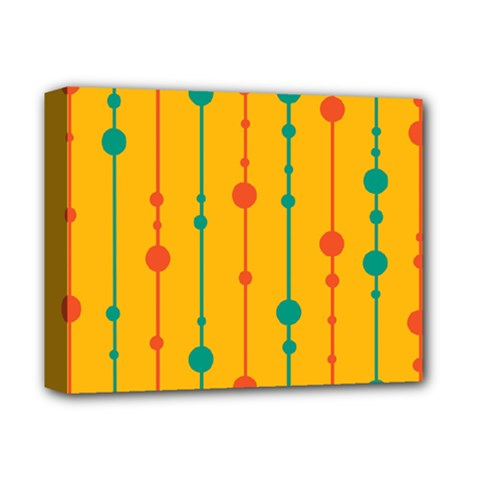 Yellow, green and red pattern Deluxe Canvas 14  x 11