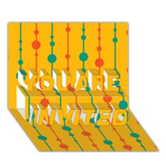 Yellow, green and red pattern YOU ARE INVITED 3D Greeting Card (7x5)