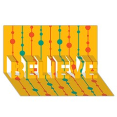 Yellow, green and red pattern BELIEVE 3D Greeting Card (8x4)