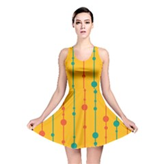 Yellow, green and red pattern Reversible Skater Dress