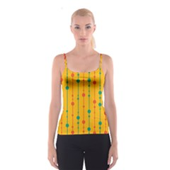 Yellow, green and red pattern Spaghetti Strap Top