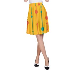 Yellow, green and red pattern A-Line Skirt