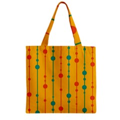 Yellow, green and red pattern Zipper Grocery Tote Bag
