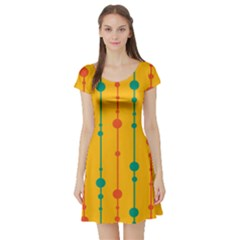 Yellow, green and red pattern Short Sleeve Skater Dress