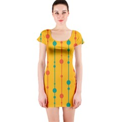 Yellow, green and red pattern Short Sleeve Bodycon Dress