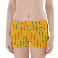 Yellow, green and red pattern Boyleg Bikini Wrap Bottoms