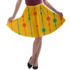 Yellow, green and red pattern A-line Skater Skirt