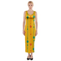 Yellow, Green And Red Pattern Fitted Maxi Dress