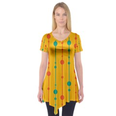 Yellow, green and red pattern Short Sleeve Tunic