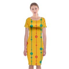 Yellow, Green And Red Pattern Classic Short Sleeve Midi Dress