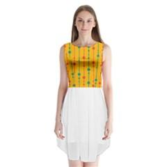 Yellow, green and red pattern Sleeveless Chiffon Dress