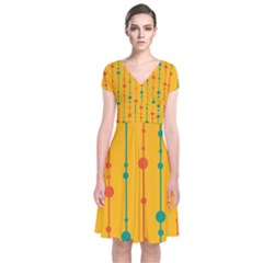 Yellow, green and red pattern Short Sleeve Front Wrap Dress