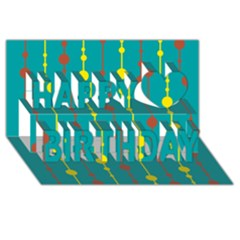 Green, yellow and red pattern Happy Birthday 3D Greeting Card (8x4)