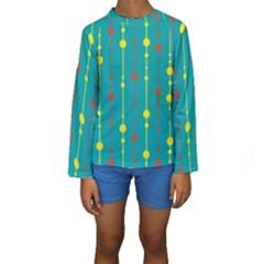 Green, Yellow And Red Pattern Kid s Long Sleeve Swimwear