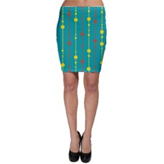 Green, yellow and red pattern Bodycon Skirt