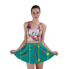 Green, yellow and red pattern Mini Skirt