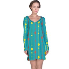 Green, yellow and red pattern Long Sleeve Nightdress