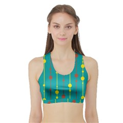 Green, yellow and red pattern Sports Bra with Border